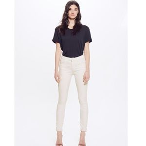 MOTHER High Waisted Looker Ankle Fray Hem Jeans